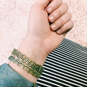 Vintage Pre-Stacked Chevron Gold Bracelet